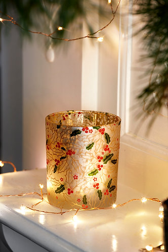 Opaque T Lite Holder Decorated with Holly