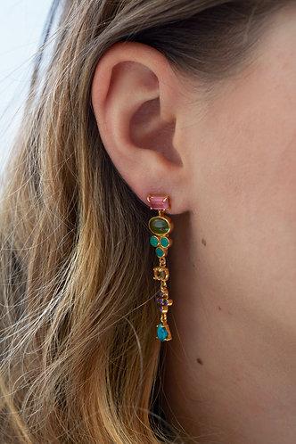 Multi Stone Drop Earring