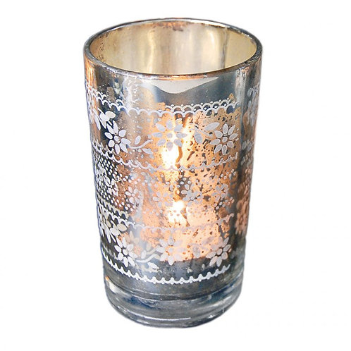 Flowery Silvered Glass Tea Light Holder