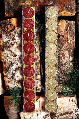 Glitter Tea Lights in Red or Gold