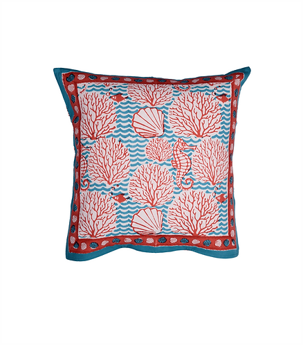 Cotton Cushion Cover. Reversible - Coral