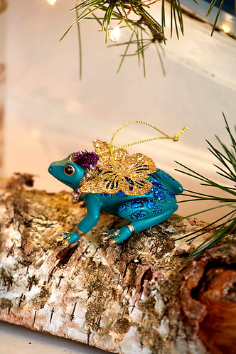 Resin & Metal Frog Decoration in Turquoise or Purple