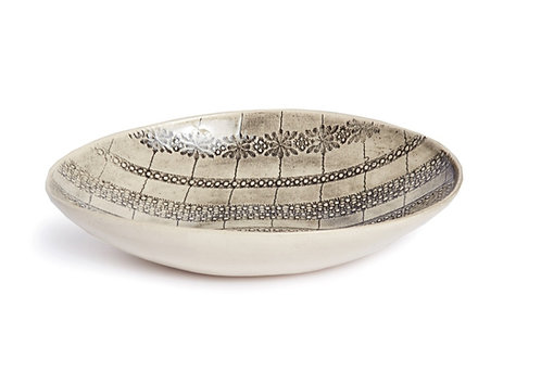 Oval Bowl, Charcoal Grey Pattern