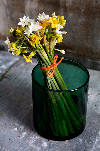 Forest Green Glass Vase, small