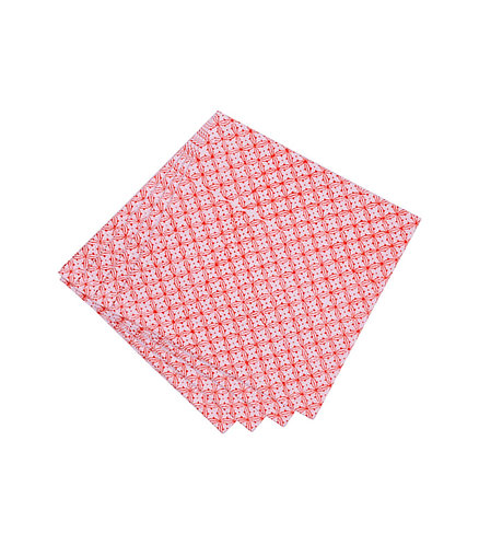 4x Block Print Cotton Napkins - Patterned Red & White