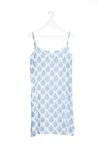 Block Leaf Nighty/Cami Dress - Blue