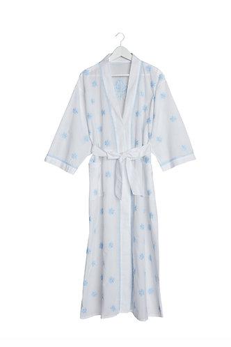 Kimono Flower Design - White with Pale Blue Embroidery