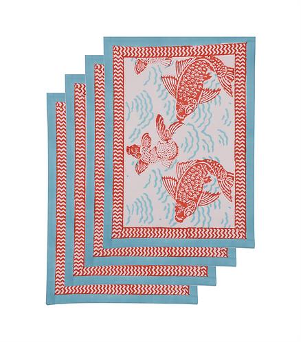 4x Cotton Block Print Placemats - Fish