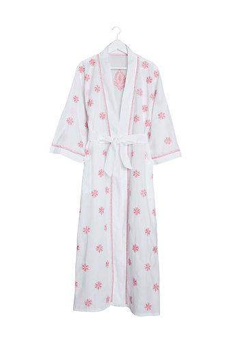 Kimono Flower Design White with Pink Embroidery