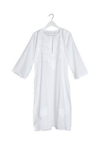 Kaftan V Neck Embroidered White