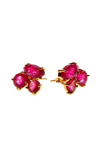 3 Stone Gold Stud Earring - Velvet Red