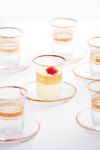 Vintage Pudding Glasses with Saucers,