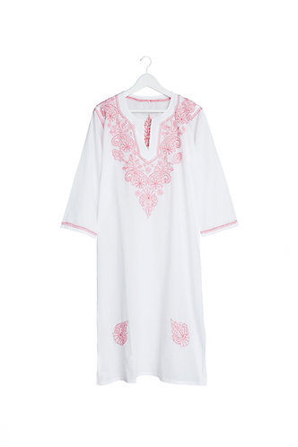 Kaftan White with Pink Embroidery
