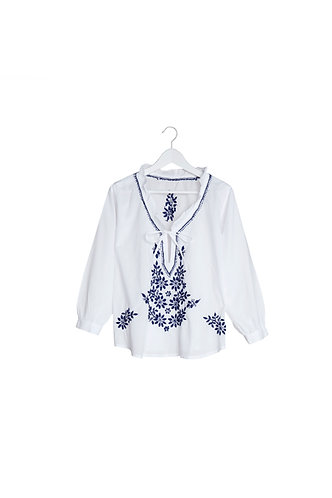 Tie Neck White Top with Navy Blue Embroidery