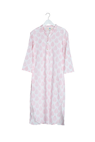 Kaftan Pink Leaf Night Shirt