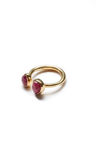 2 Stone Gold Ring - Velvet Red