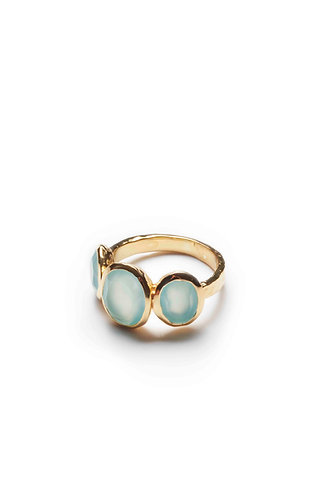 3 Stone Gold Ring - Light Blue