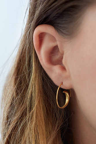 Gold Spiral Hoop Earring