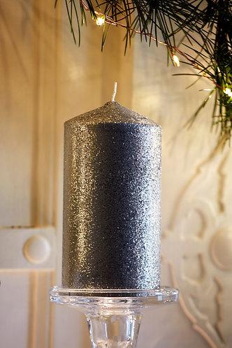 Silver Glitter Pillar Candle