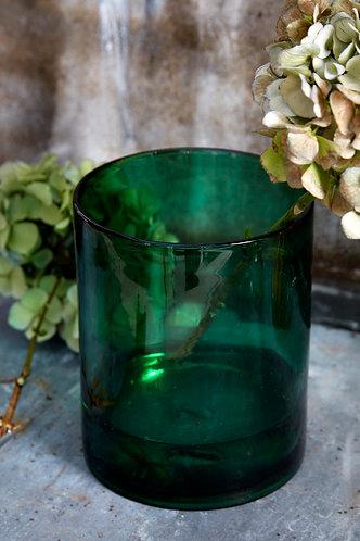 Forest Green Glass Vase, large