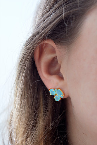 3 Stone Stud Earring - Light Blue