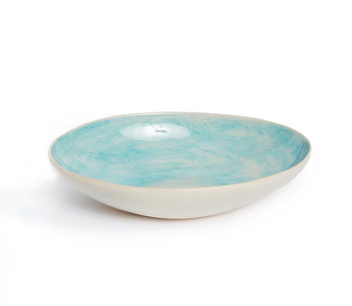 Oval Bowl, Turquoise Wash