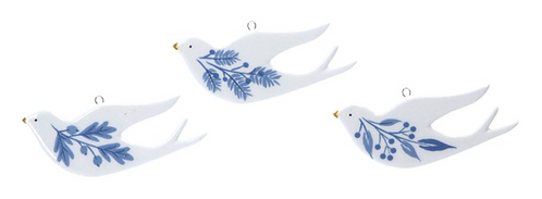 Ceramic Blue & White Doves