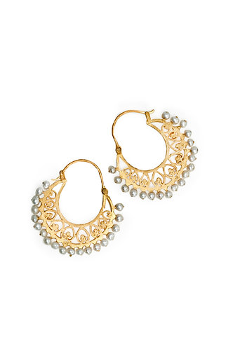 Gold Pearl Fringed Earring