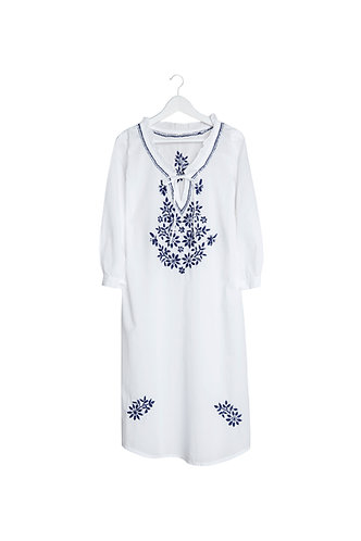 Kaftan Ruffle Neck White with Blue Embroidery
