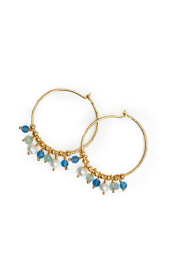 Gold Hoop Multi Stone Drop - 3 Colours Avaliable