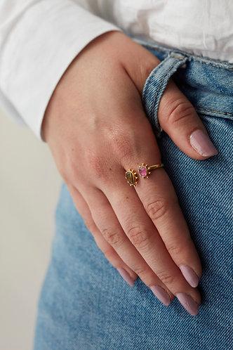 2 Stone Spiked Gold Ring - Velvet Red & Aubergine