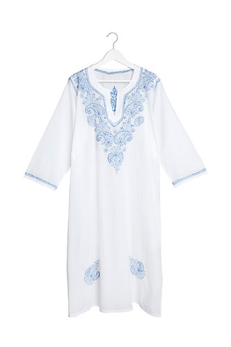 Kaftan White with Blue Embroidery