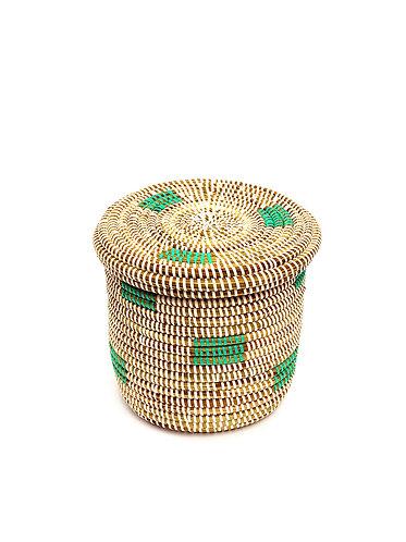 Small, Grass Hand Woven Basket - Mint