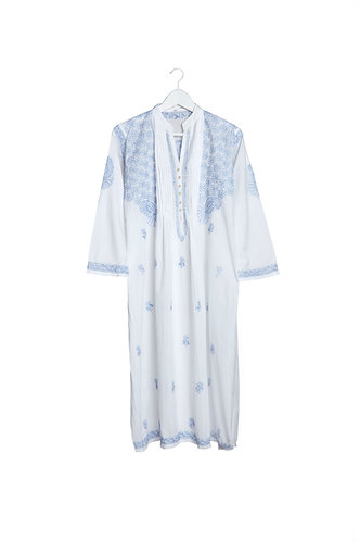 Kaftan White with Blue Embroidery & Buttons