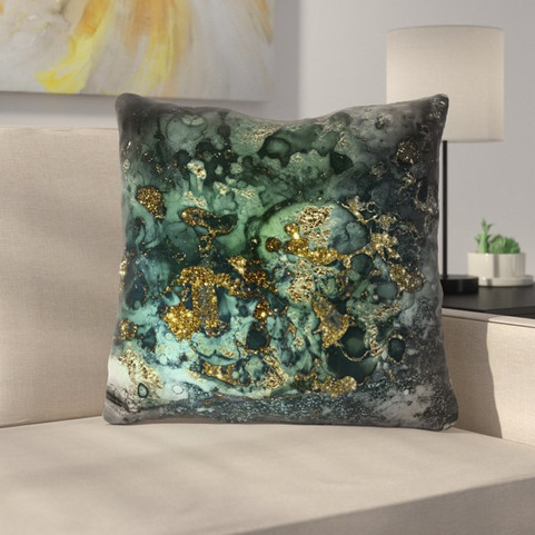 Luxury Dark Malachite Gold Gem Agate and Marble Texture Throw Pillow