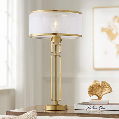 Possini Euro Wallace Brass Metal Table Lamp