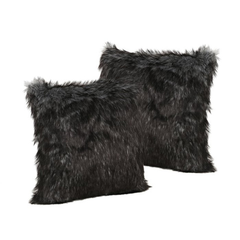 Hamblen Furry Faux Fur Throw Pillow (set of 2)