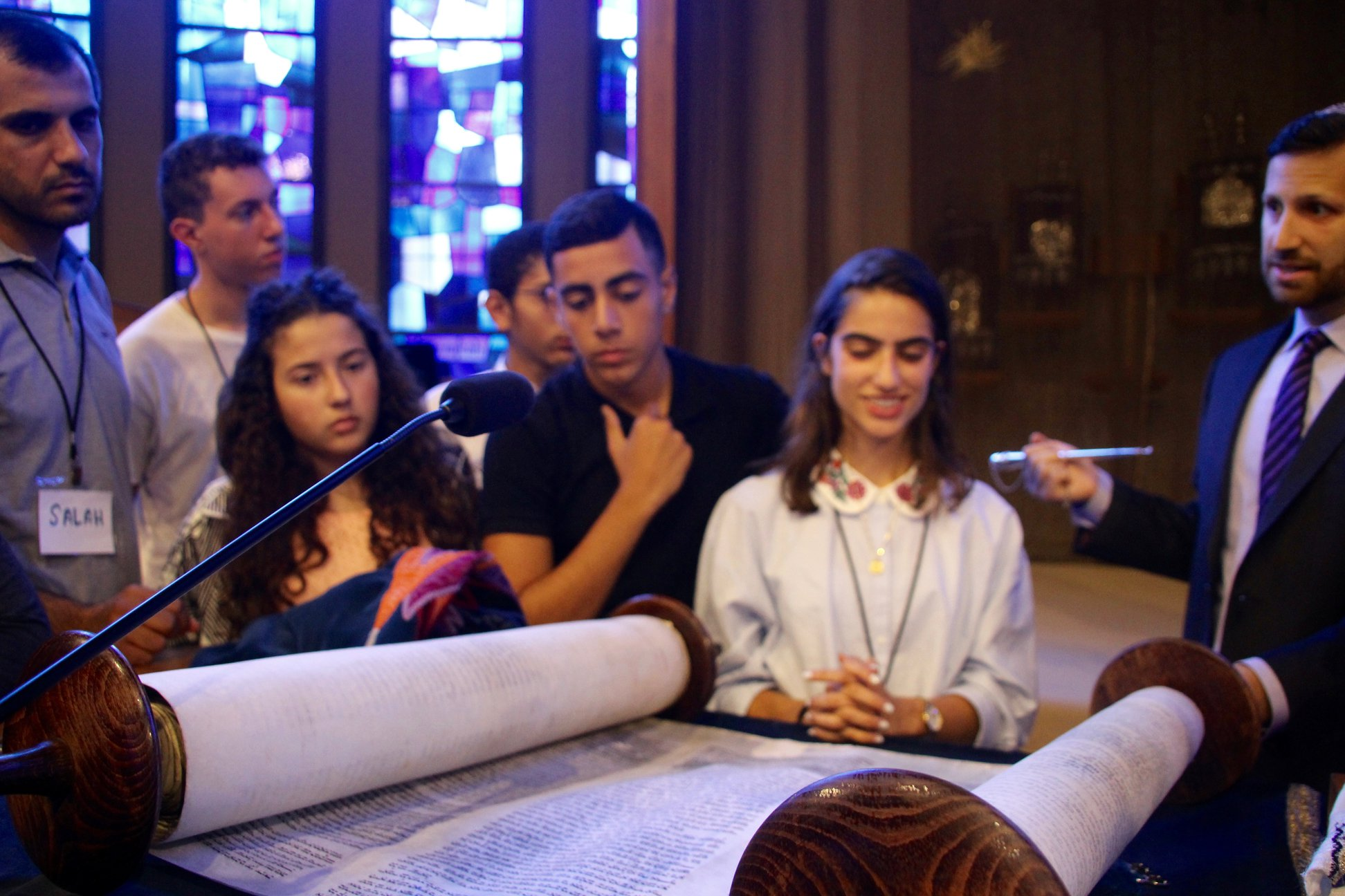 Torah scroll reading on service
