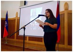 Sarin presenting her speech on service