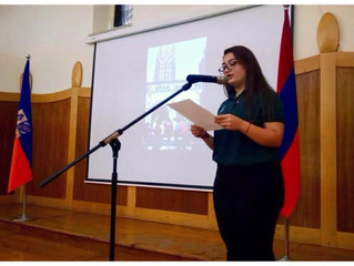 COMMITTED TO SERVICE: JPB participants present speeches at Jerusalem high school