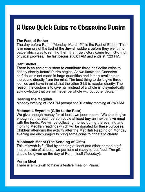 From the Desk - A Very Quick Guide to Observing Purim