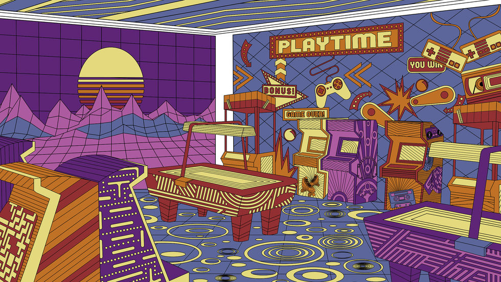 In Nostalgia, since the setting of the artwork is an arcade, the video paid homage to 80s pop culture, with elements like pinball, Pacman, roller blades, etc.