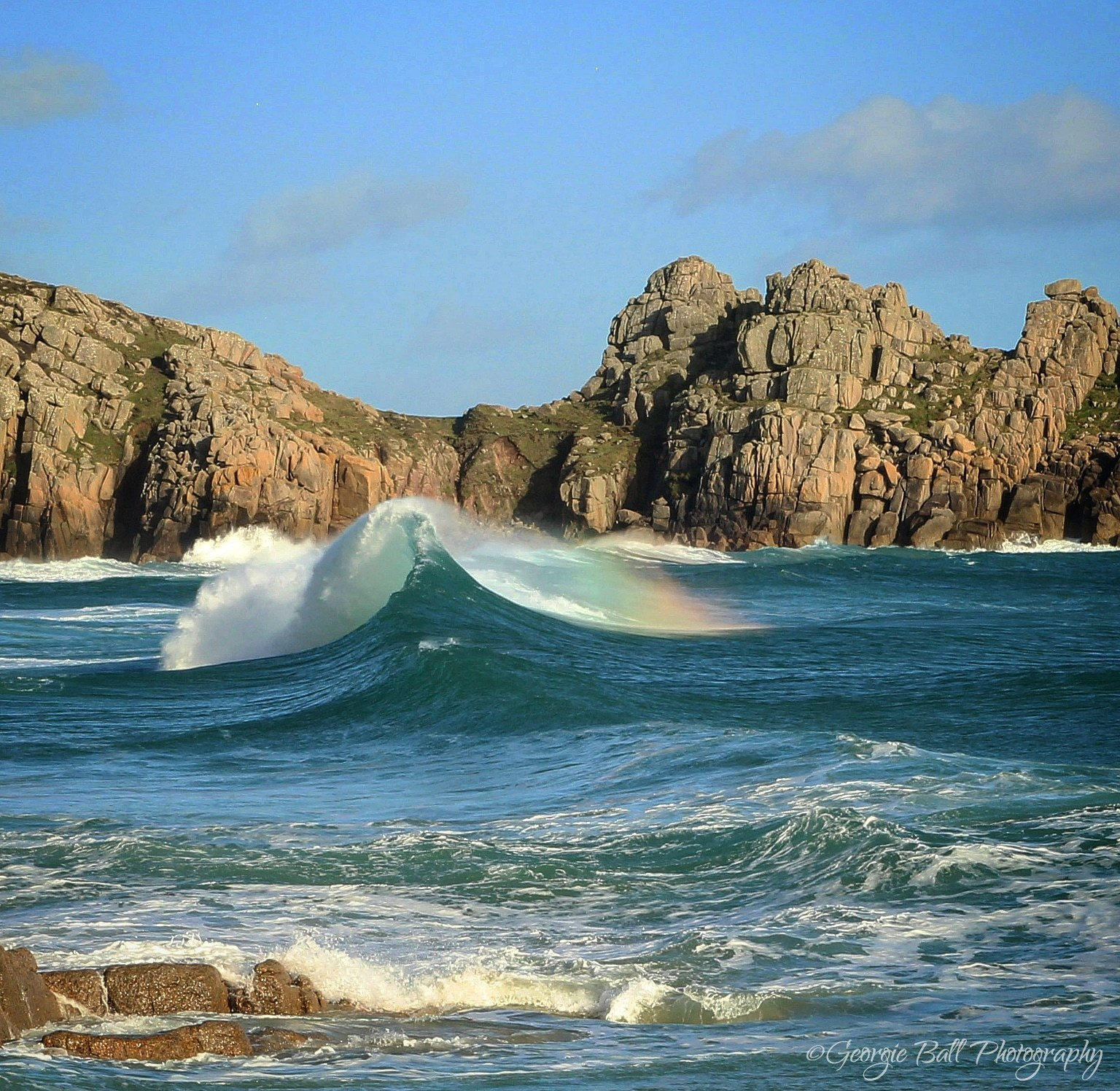 Porthcurno rainbow wave watermarked