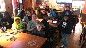 Celebrating at Applebee's for the completion of the program