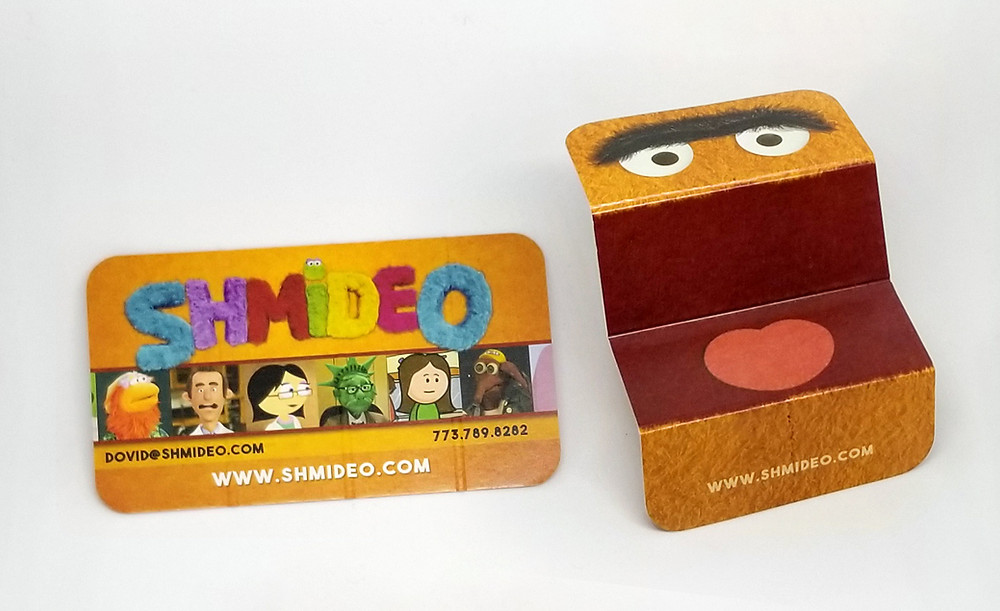 Shmideo's Business card is also a puppet!