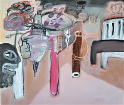 Masker en andere rommel in het atelier