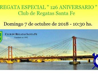 """Programa de la Regata Especial """"126º Aniversario"""" del Club Regatas Santa Fe"""