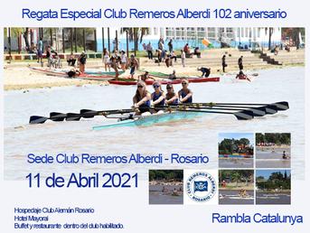 """Regata Especial """"102 Aniversario"""" del Club Remeros Alberdi"""