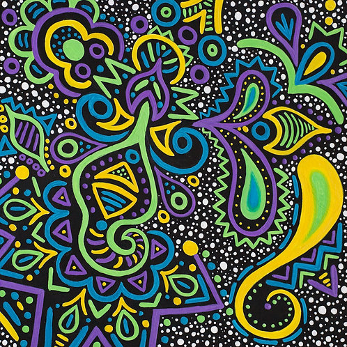 Purple, Blue, Green, & Yellow Swirl