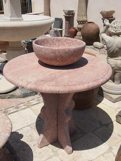 Table de jardin en marbre rose